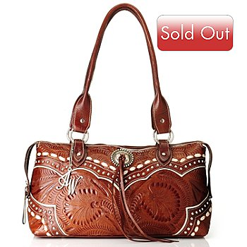709-509 - American West Hand Tooled Leather Zip Around East-West Tote Bag
