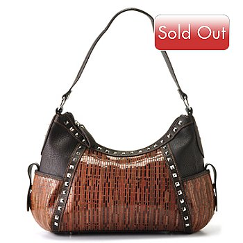 709-537 - Madi Claire ''Katina'' Stud Detailed Leather Hobo Bag