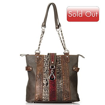709-543 - Madi Claire ''Isabel'' Crocodile Embossed Striped Leather Tote Bag