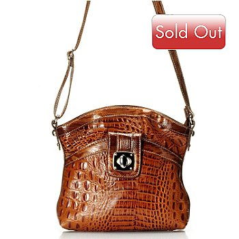 709-546 - Madi Claire ''Reba'' Crocodile Embossed Turnlock Leather Cross Body Bag