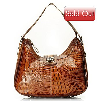 709-548 - Madi Claire Croco Embossed Leather ''Reba'' Turn Lock Hobo Handbag