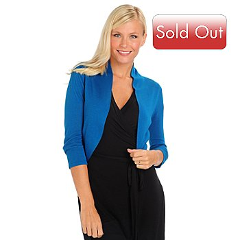 709-574 - One 7 Six 3/4 Sleeved Solid Pucker Bolero Top