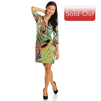 709-652 - aDRESSing WOMAN V-Neck Elbow Sleeved Stretch Knit Faux Wrap Dress