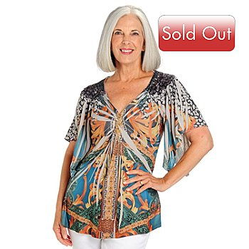 709-661 - One World Backlique V-Neck Kimono Sleeve Knotted Front Knit Top