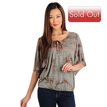 709-662 - One World Short Sleeved Embroidered Scoop Neck Peasant Top