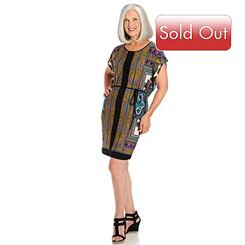 709-665 - One World Flutter Sleeve Scoop Neck Belted Jersey Caftan Tunic Dress