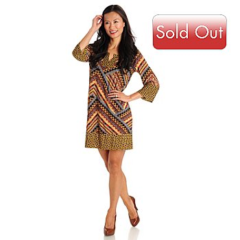 709-666 - One World Scoop Neck 3/4 Sleeve Printed Jersey Tunic Dress