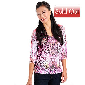 709-671 - One World 3/4 Sleeved V-Neck Top