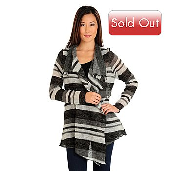 709-673 - One World Long Sleeved Drape Front Multi Stripe Fly Away Cardigan