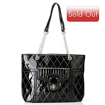 709-701 - Madi Claire ''Jennifer'' Quilt Stitched Patent Leather Tote Bag