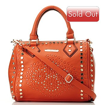 709-792 - Nicole Lee Studded Zip Top Barrel Bag w/ Adjustable Shoulder Strap