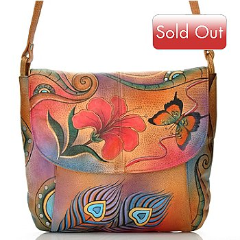 709-817 - Anuschka Hand Painted Leather Front Flap Cross Body Bag