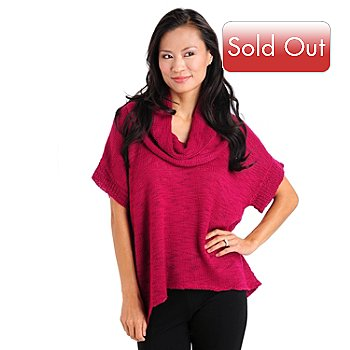 709-914 - Olivia & Grace Short Sleeved Cowl Neck Soft Knit Sweater