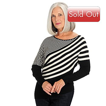 709-952 - One 7 Six Off-Shoulder Diagonal Stripe Asymmetrical Knit Sweater
