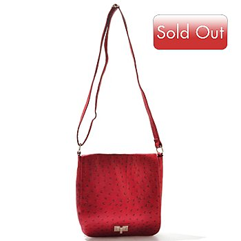 709-988 - Chateau Ostrich Embossed Flap Over Cross Body Bag