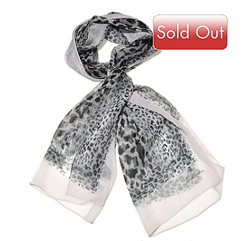 710-044 - Brooks Brothers® Leopard Printed Oblong Chiffon Silk Scarf