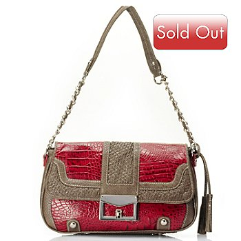 710-132 - Madi Claire ''Sarah'' Crocodile Embossed Leather Shoulder Bag