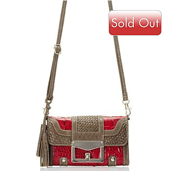 710-134 - Madi Claire ''Sarah'' Crocodile Embossed Leather Cross Body Organizer