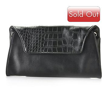 710-137 - Madi Claire ''Sable'' Flap Over Soft Leather Clutch