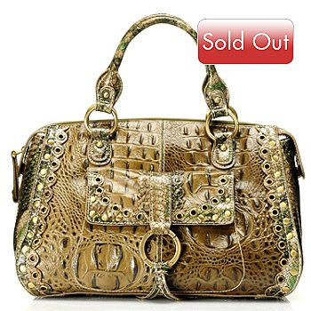 710-254 - Madi Claire ''Connie'' Scallop Detail Crocodile Embossed Leather Satchel