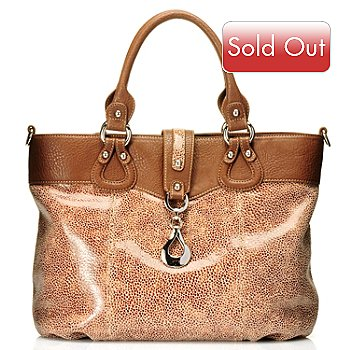 710-261 - Madi Claire ''Wendi'' Snake Printed Zip Top Leather Tote Bag