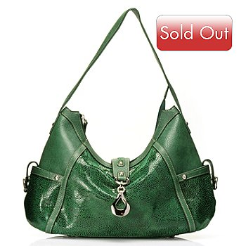 710-263 - Madi Claire ''Wendi'' Snake Printed Zip Top Leather Hobo Bag