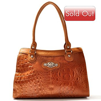 710-292 - Madi Claire Croco Embossed Leather ''Kimberly'' Zip Top Tote Bag