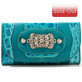 710-306 - Madi Claire ''Candice'' Crocodile Embossed Leather Wallet