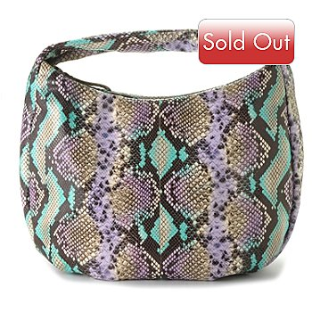 710-322 - Sondra Roberts Python Printed Zip Top Leather Hobo Bag