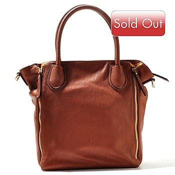 710-327 - Sondra Roberts Two-tone Zipper Detailed Zip Top Large Shopper Bag
