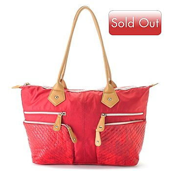 710-328 - Sondra Roberts Snake Print & Nylon Quilted Zip Top Tote Bag