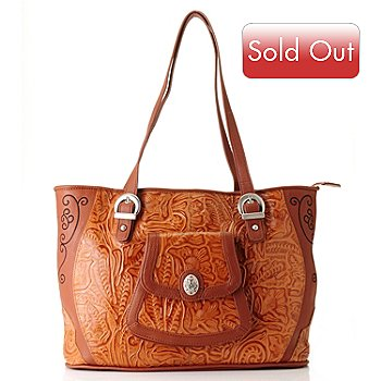 710-426 - Madi Claire ''Savannah'' Embroidered & Tooled Leather Tote Bag