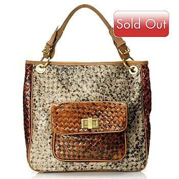 710-505 - Sondra Roberts Multi Color Zip Top Python Printed Hobo Bag