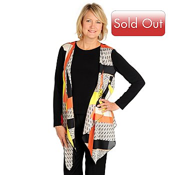710-547 - aDRESSing WOMAN Long Sleeved Printed Open Drape Front Jacket w/ Tank Top