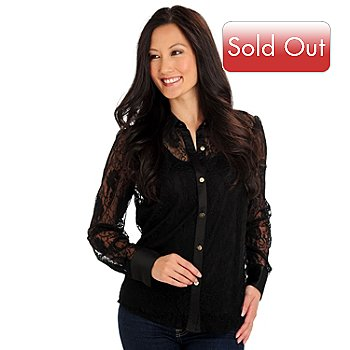 710-567 - WD.NY Long Sleeved Button Front Lace Shirt & Tank Top Set