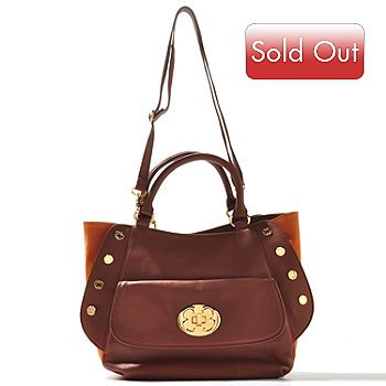 710-610 - Emma Fox Studded Suede & Leather Satchel