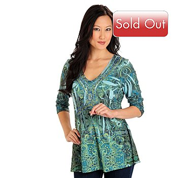 710-627 - One World 3/4 Sleeved Rhinestone Accented V-Neck Printed Top