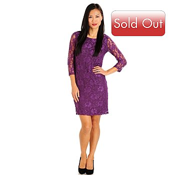 710-778 - Kate & Mallory 3/4 Sleeved Scoop Neck Floral Lace Sheath Dress