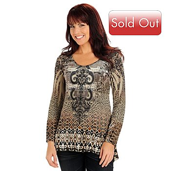 710-807 - One World Long Sleeved V-Neck Velvet Paneled Knit Tunic Top