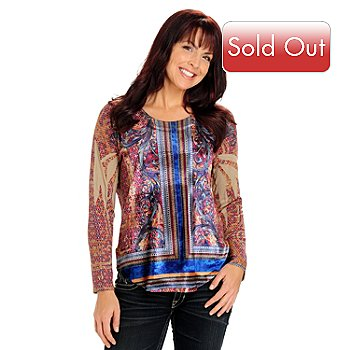 710-808 - One World Long Sleeved Scoop Crew Neck Rounded Hem Velvet Panel Top