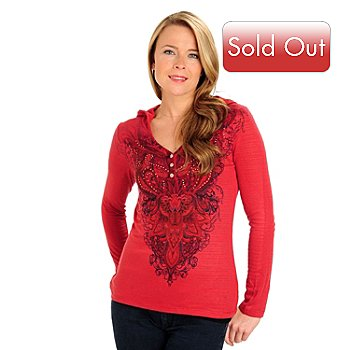 710-815 - One World Long Sleeved V-Neck Printed Henley Hoodie Top