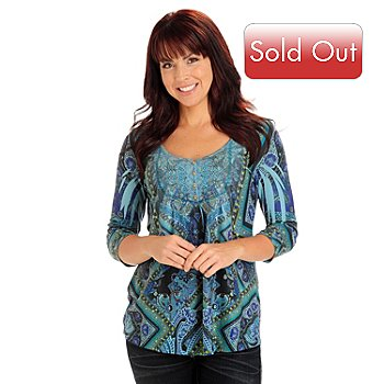710-817 - One World 3/4 Sleeved Embellished V-Neck Sweater Knit Henley Top