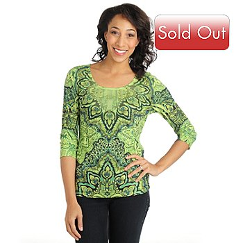 710-822 - One World Print Knit 3/4 Sleeved Bling Bib Detail Scoop Neck Top
