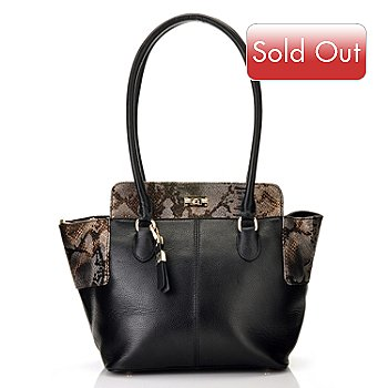 710-977 - B-Collective by Buxton® ''Alexandria'' Turn Lock Leather Tote Bag