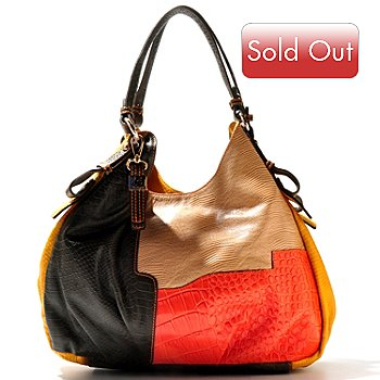 710-979 - B Collective by Buxton® ''Victoria'' Reptile Embossed Leather Hobo Bag