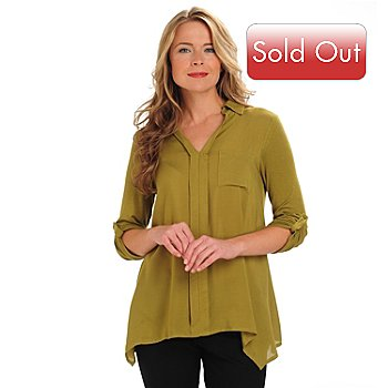 711-062 - Kate & Mallory Long Sleeved V-Neck Sharkbite Hem Pull-Over Shirt