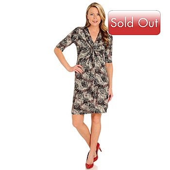 711-130 - Geneology Elbow Sleeved V-Neck Knot Front Printed Dress