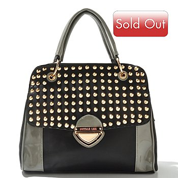711-351 - Nicole Lee ''Yvonne'' Cone Studded Zip Top Satchel