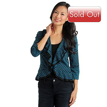 711-562 - Geneology Ponte Knit Hook & Eye Closure Ruffle Front Jacket