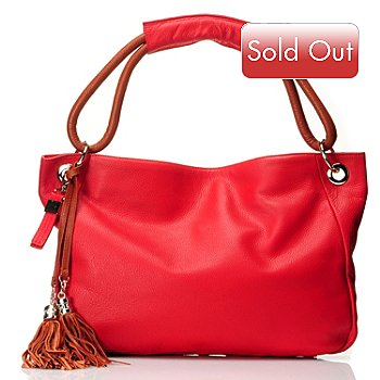 712-013 - Buxton® Leather ''Lucca'' Tassel Detailed Shoulder Bag